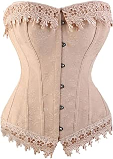 1630fe0f54 FUT Women s Lace up Boned Plus Size Overbust Corset Bustier Waist Cincher  Body Shaper Top
