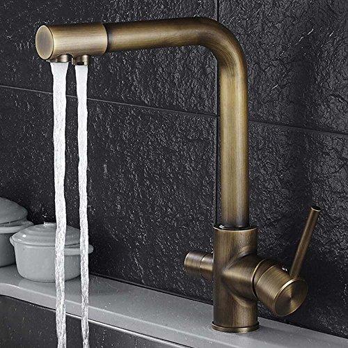 jruia de 3Vías de agua Filtro Cocina Grifo 360° Giro Bar Cocina Grifo 2Palanca Mezclador grifo fregadero grifo F. ósmosis Instalaciones Agua Potable Instalaciones De Latón
