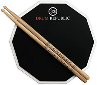 Drum Pad And Sticks Practice Pad By Drum Republic. Premium 12 Inch Pad For Adults And Pair Of 5A Drumsticks. Snare Drum Practice Kit For Beginners And Pro Drummers. 12 In Single Sided Pad