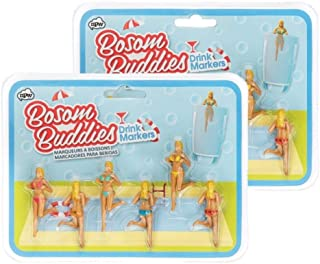NPW Bosom Buddies Drinking Gals Drink and Wine Glass Markers (2 Pack)