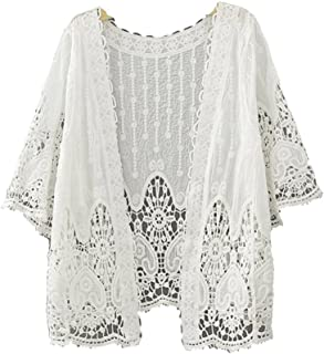 Bestwo Women's Floral Lace Crochet Front Open Cover Ups Half Sleeve Kimono Cardigan