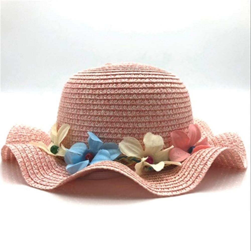 QQSA New Child Cute Flower At the price of surprise Sunhat Straw Safety and trust Girl Handmade Wi wâve
