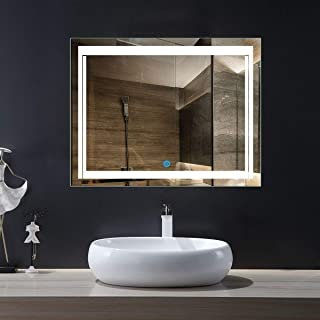 DP Home Illuminated Lighted Makeup Mirror, Led Wall Mounted Backlit Bathroom Vanity Mirror with Touch Sensor, 28 x 36 in E-CK150-L