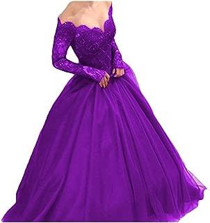 Liaoye Women's Off Shoulder Long Sleeves Ball Gownor Bride