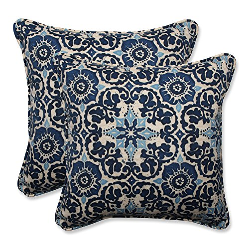 "Pillow Perfect Outdoor/Indoor Woodblock Prism Throw Pillow (Set of 2), 18.5"", Blue"