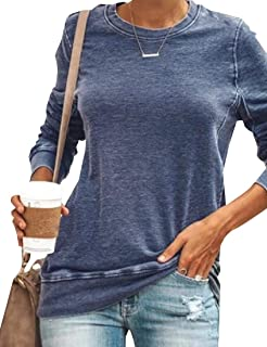 Miracle Womens Color Block Long Sleeve Shirt Round Neck Pocket Pullover Casual Tunic Sweatshirts Tee