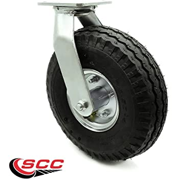 "10"" Pneumatic Swivel Caster - Black Rubber Wheel - 350lbs. Capacity - Service Caster Brand"