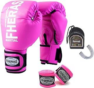 b7f45ba4e Kit Boxe Muay Thai - Luva + Bandagem + Bucal Rosa - Fheras