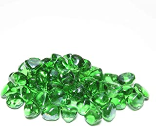 Fire Glass Rocks for Fireplace - Glass Stones for Fire Pit Indoor and Outdoor Propane & Gas Fireplace Glass Beads - Vase Filler Gem Glass Unique Diamond Shape | 10 Pounds | Green Glass for Firepit