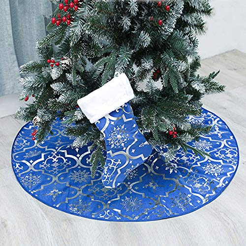 Christmas Tree Skirt, 48 inches Large Red Flannel Tree Mat with Gilded Christmas Patterns Skirt for Xmas Tree Holiday Party Decorations Indoor Outdoor with 1 Christmas Stocking (Blue)