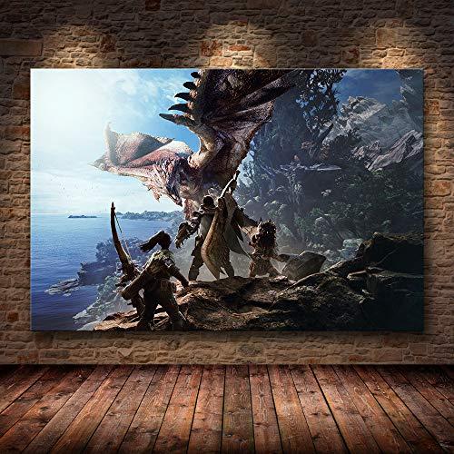 H/F Juego Clásico Monster Hunter World Cartel De Lienzo De Arte HD DIY Estilo Nórdico Bar Cafetería Decoración Mural Pintura Al Óleo Sin Marco40X60Cm 6620L