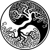 Tree of Life Ying Yang Vinyl Decal Sticker for Home Office Decor Vehicle Window Sign Size- [6 inch] / [15 cm] Tall and Color- Gloss Black