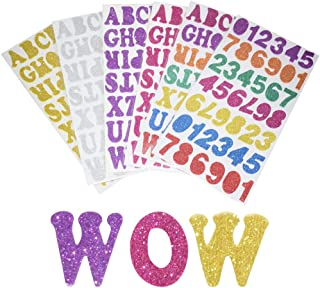 SMUER Glitter Letras Alfabeto Espuma Pegatinas, Colorful Auto-Adhesivos Número de Letras Pegatinas para