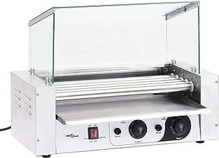 Tidyard Macchina per Hot Dog a 5 Rulli con Coperchio in Vetro 1000 W,Macchina per Hot Dog Professionale