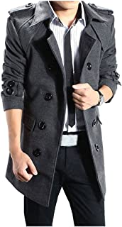 ZiXing Mens Winter Trench Coat Long Jacket Double Breasted Turn Down Collar Overcoat