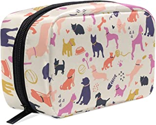 MASSIKOA Dogs And Cats Silhouettes Colorful Handy Cosmetic Pouch Clutch Makeup Bag Organizer Travel Bag