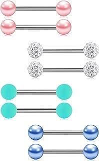14G Nipplerings Piercing Barbells Surgical Stainless Steel Straingt Silver Barbell Nipple Tongue Rings Jewelry 12/14/16/18/20mm