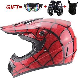 Casco de Motocicleta de Cara Completa para Hombres Doble Lente Casco NENKI830 Spiderman Casco de Moto