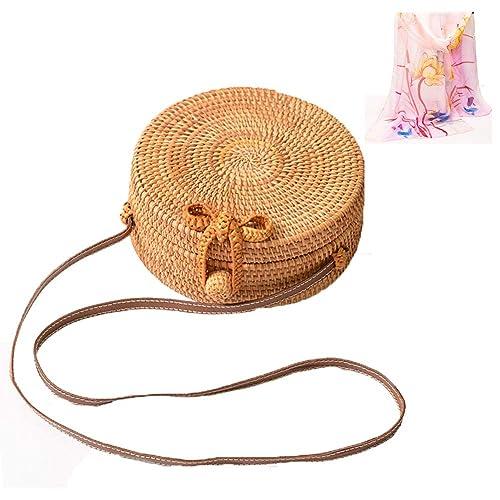 Zinuo Round Woven Ata Rattan Bag Summer Beach Shoulder Bag for Women