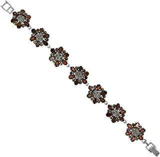 Sterling Silver Cubic Zirconia Garnet Floral Marcasite Bracelet 11/16 inch wide, 7 inch long