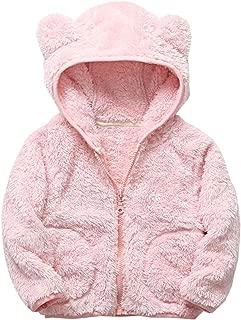 HAXICO Toddler Fleece Warm Hoodies Clothes Toddler Zipper Light Jacket Sweatshirt Bear Ears Outwear for Baby Boys Girls