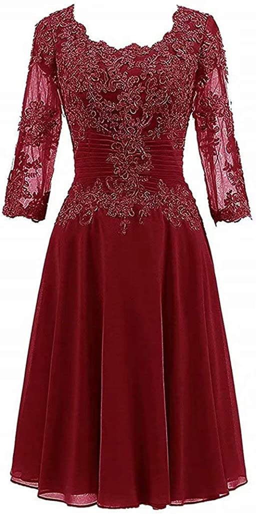Women's Lace Appliques Knee Length Mother of The Bride Dress Half Sleeves Chiffon Evening Prom Gown Beaded Aqua Blue
