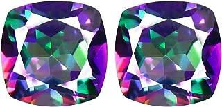 Deluxe Gems 2.37 ct Matching Pair Cushion Cut (6 x 6 mm) Fancy Mystic Sea Child Topaz Natural Gemstone