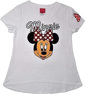 46a88960a Disney Girls T-Shirt Minnie Mouse Glitter Bow Print Short Sleeve