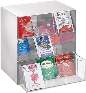mDesign Organizador de cocina para bolsas de té, cápsulas de café, azúcar y más – Compacto organizador con cajones de plástico – Mini cajonera con 3 cajones y 27 apartados – gris claro y transparente