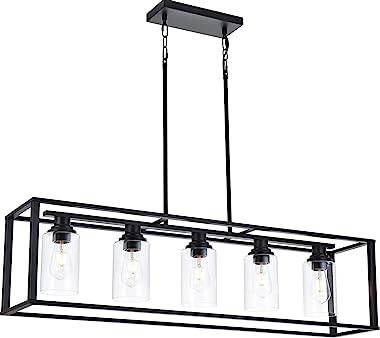 LUBURS Kitchen Island Lighting - 5 Lights Chandelier,Black Pendant Lighting with Metal Adjustable Rods&Clear Glass Shade,