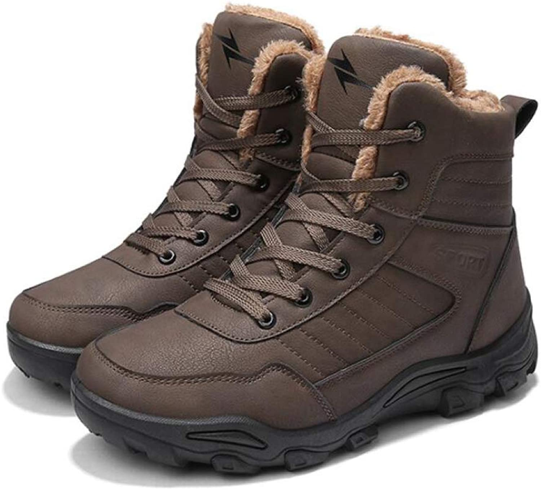 LIJUN Snow Boots Winter Men Non-Slip Warm Martin Snow Boots Genuine Leather Winter shoes Outdoor Travel Size:38-46