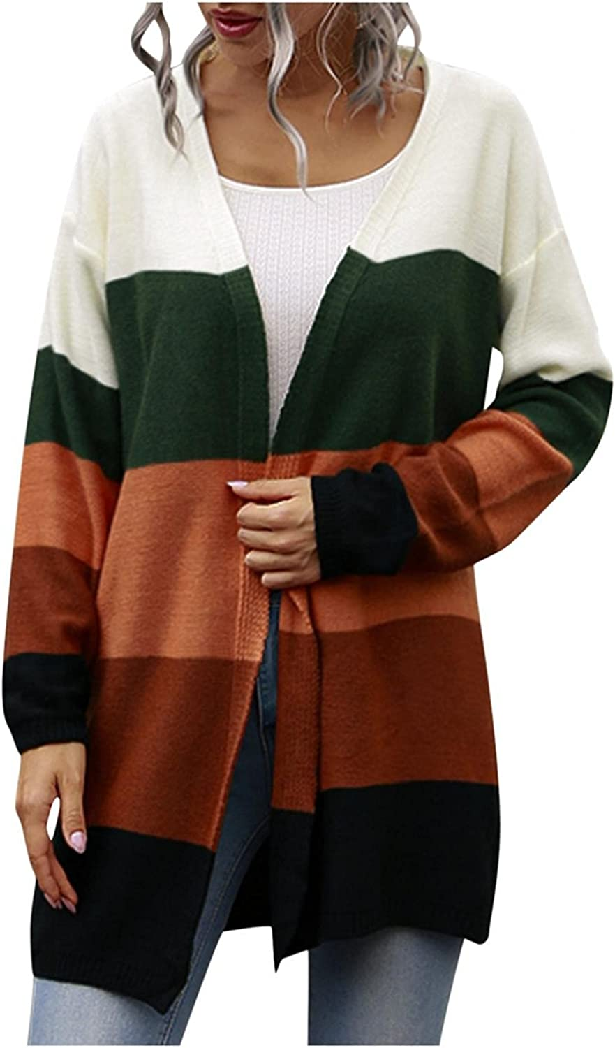 RNTOP Open Front Cardigan Sweaters for Women, Color Block Long Sleeve Outerwear Chunky Waffle Cable Knit Pockets Coat