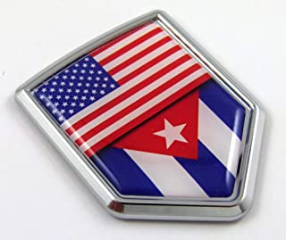 Car Chrome Decals USA Cuba American Cuban Flag Car Chrome Emblem 3D Decal Sticker CBSHD228-053