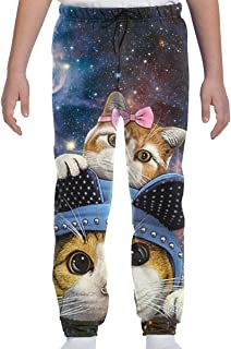 Summermf Funny Hats Twin Cat Galaxy Kids Joggers Casual Pants Sports Boys Sweatpants