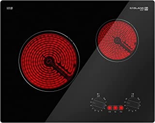 """21"""" Electric Cooktop, GASLAND Chef Professional 21 inch Drop in Radiant Electric Cooktop, 240V Ceramic Electric Stove 2 Burners, 9 Heating Levels, Knobs Control, Instant Heating Up, UL Approved"""