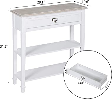 kinsuite White Console Table with Drawer and Storage Shelf Accent Sofa Table for Entryway Living Room Hallway