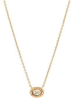 코치 목걸이 COACH Signature Logo Stone Pendant Necklace,Golden