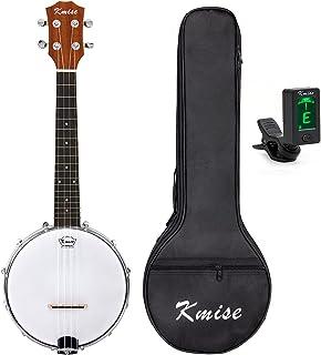 Kmise Banjo Ukulele 4 String Concert Banjos Classic Style Professional Musical Instrument with Bag and Tuner