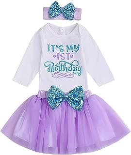 YOUNGER TREE 新生女婴 It's My 1st Birthday 连衣裙婴儿闪亮印花亮片蝴蝶结芭蕾舞短裙公主裙