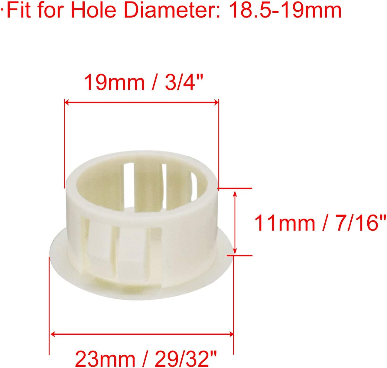 1 Fit for 24.5-25mm Diameter Locking Hole Tube Flush Type Panel Plugs Fastener Cover for Kitchen Cabinet Furniture White 25 Pcs VictorsHome Hole Plugs Plastic 25mm