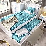 HABITMOBEL Estructuras Cama Nido Infantil 2 Camas,Moderna Ideal para Habitaciones Infantiles y Juveniles. Dimensiones: 76 cm (Alto) x 96 cm (Ancho) x 196 cm (Prof.) Azul