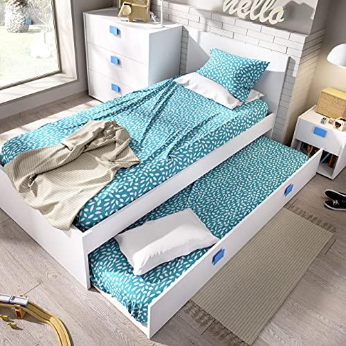 HABITMOBEL Cama Nido con Cama Inferior incluida, Ideal para Habitaciones Infantiles y Juveniles. 76 cm (Alto) x 96 cm (Ancho) x 196 cm (Prof.) Azul