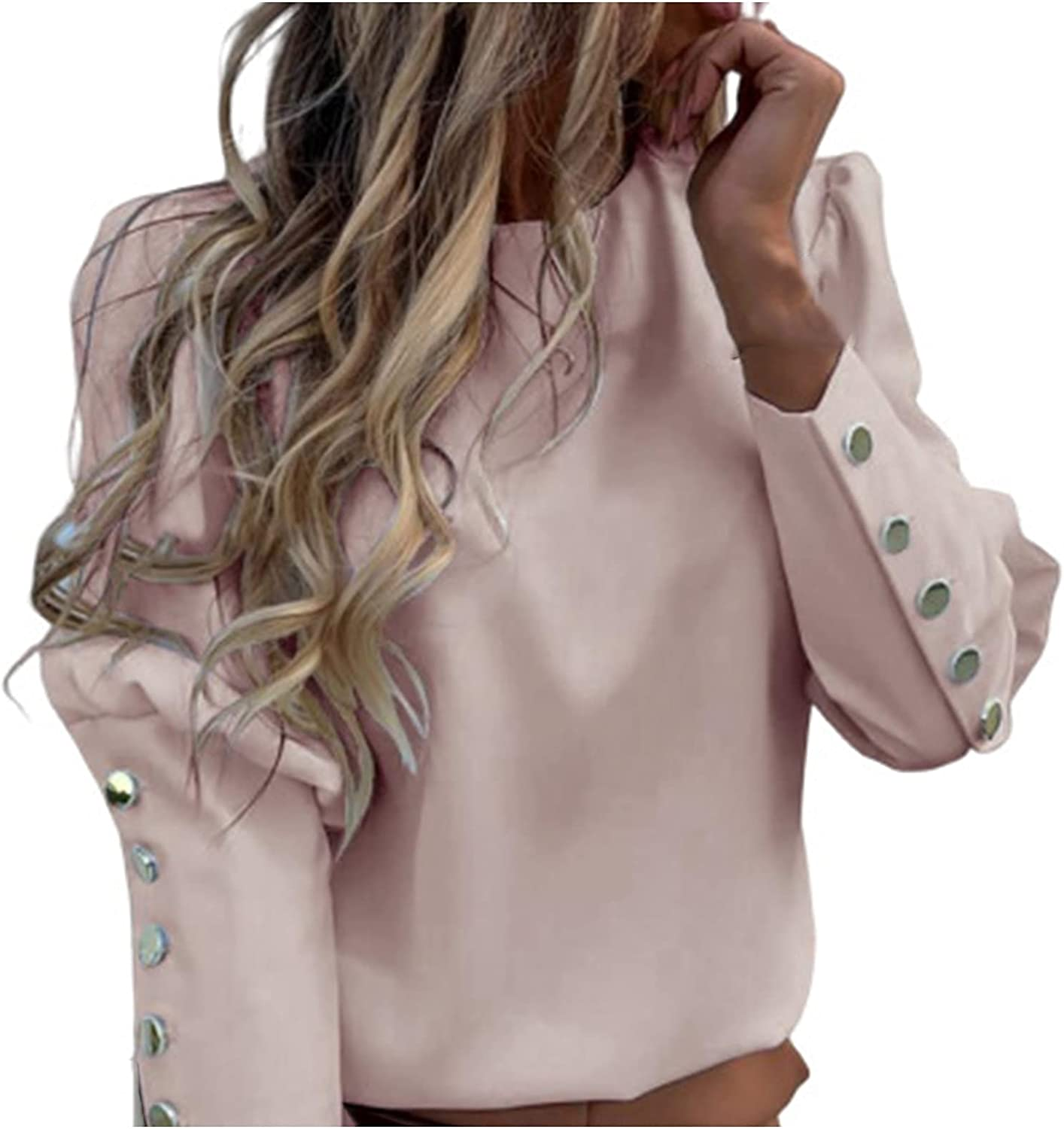 Oxodoi Womens Blouse Elegant Round Neck Top Loose Pullover Metal Button Long Sleeve T-Shirt Pineapple Letter Print Casual Tee