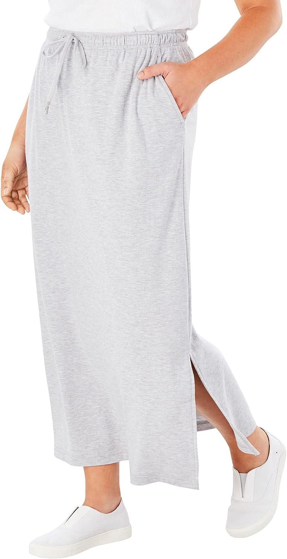 Woman Within Women's Plus Size Sport Knit Side-Slit Skirt