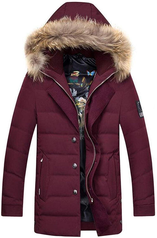 Herren Daunenjacke Langen Abschnitt Junge Mnner Dicke dünne dünne Winter warme Kapuze Kragen Mantel (Farbe   rot, gre   XXL)