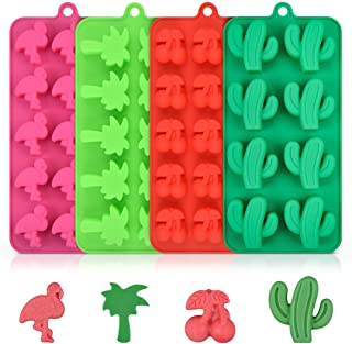 Candy Silicone Chocolate Molds - Tropical Theme Cake Fondant Including Cactus, Flamingo, Coconut Tree & Cherry for Making Candy, Chocolate, Fruit Snack, Pack of 4