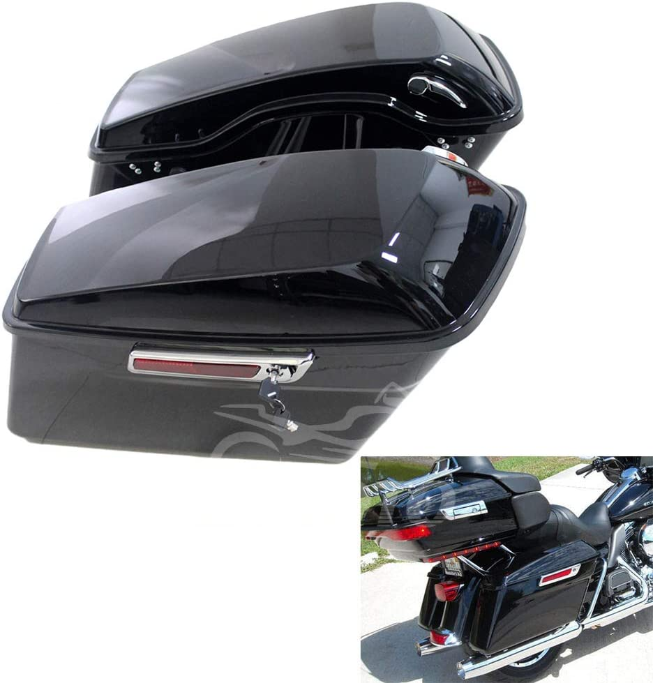 ZXMOTO Popular popular Popular standard Glossy Black Hard Saddlebags Saddle W F Bags Fit Hardware