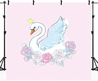 Riyidecor White Swan Pink Flowers Backdrop 5x5ft Golden Crown Baby Shower Cake Dessert Banner Animal Floral Birthday Cute Girly Photography Props Photo Shoot Vinyl Cloth