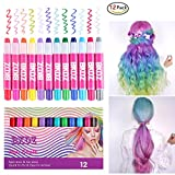 Pelo tiza, 12colores Metallic Glitter & Color temporales lápices ungiftiges pelo Chalk Pen Set lavable fácilmente sin jegliches Lío para todos los pelos