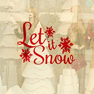 pabear Quotes Vinyl Wall Art Decals Saying Words Removable Lettering Snowflake Let It Snow Christmas Home Living Room Window Decorative Xmas Decor Bedroom